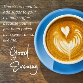 Good Evening Wishes with coffee cup and a heart