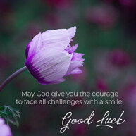 goodLuck message with purple flower