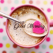 Good Morning message the coffee cup and heart image